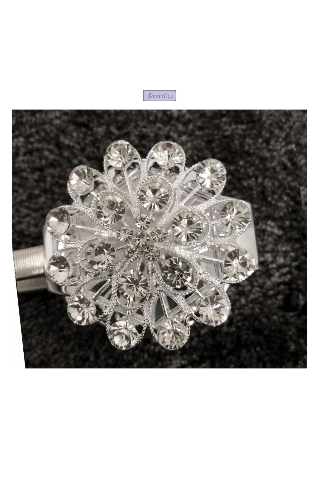 Luxusní magnetická glamour spona na záclony/závěsy s krystaly 33cm stříbrná