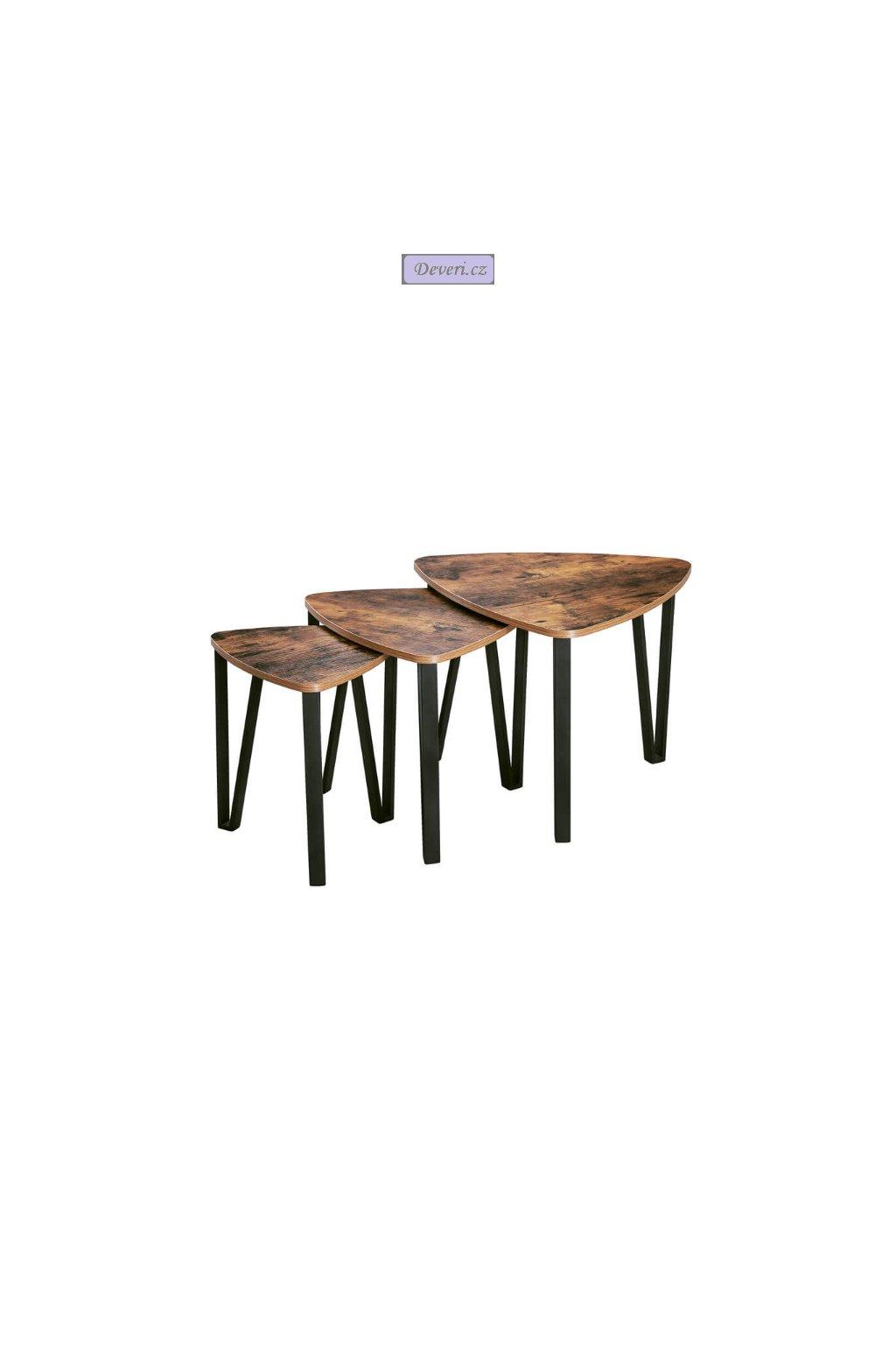Rustikální set tří konferenčních stolků různé rozměry