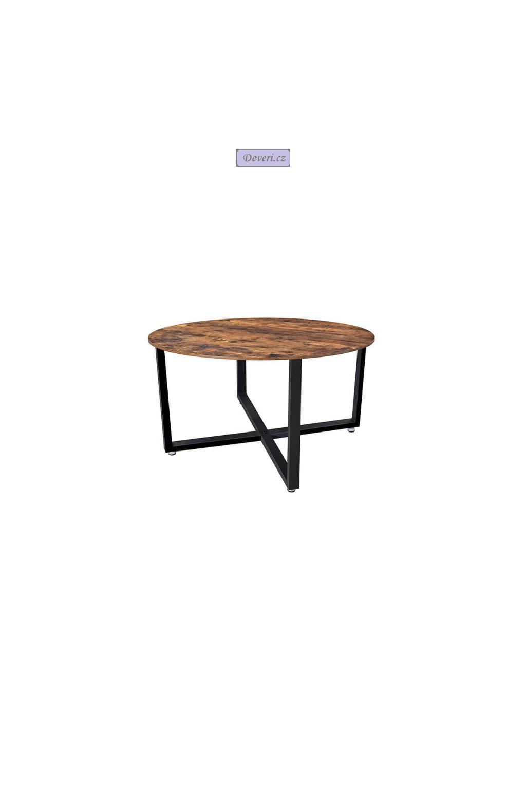 Kulatý konferenční stolek 88x88x47 cm rustikální hnědá
