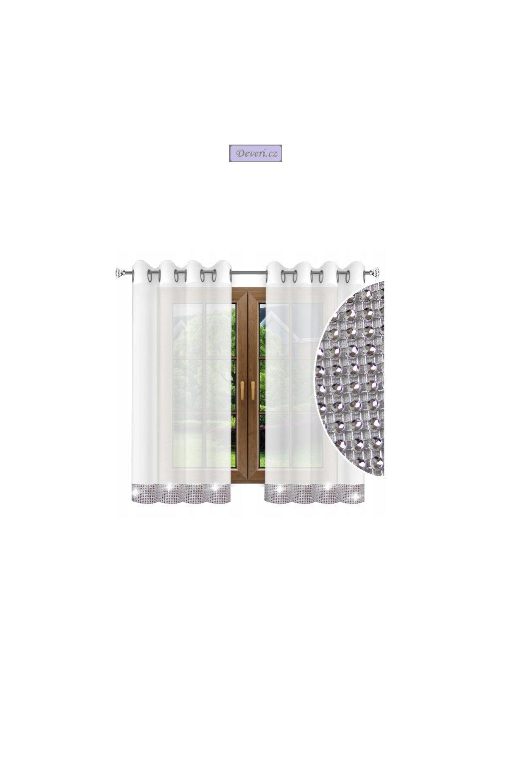 Hotová voálová záclona zirkony 140x180cm bílá (2)