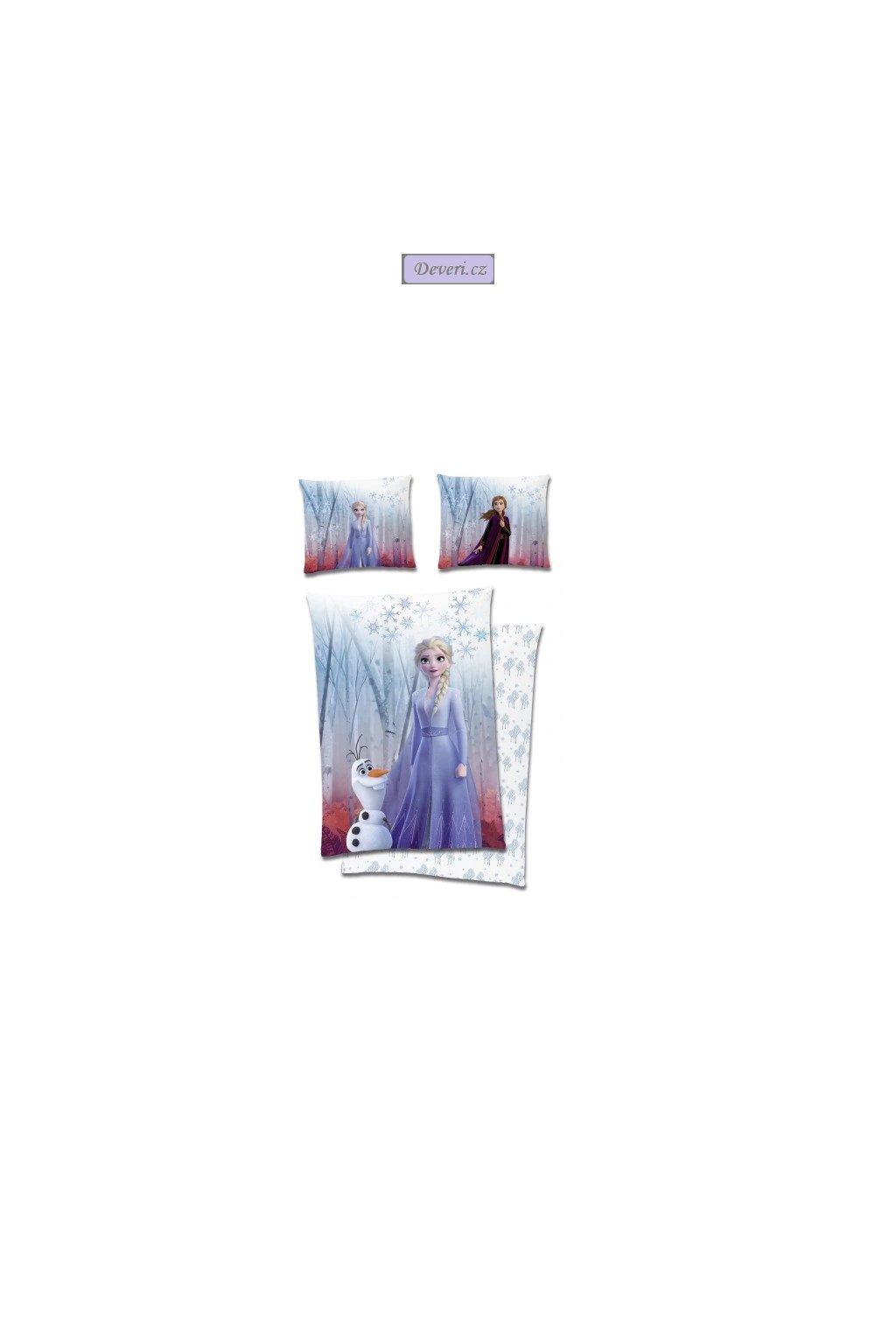 Dětské bavlněné licenční povlečení Frozen 140x200cm bílé (2)