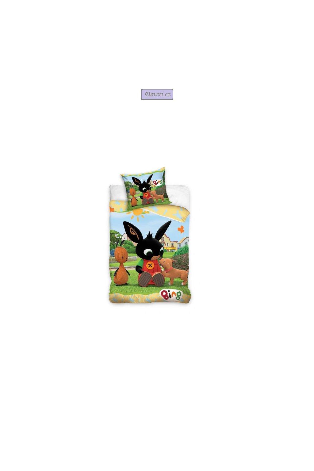Dětské bavlněné licenční povlečení Bing 140x200cm zelené