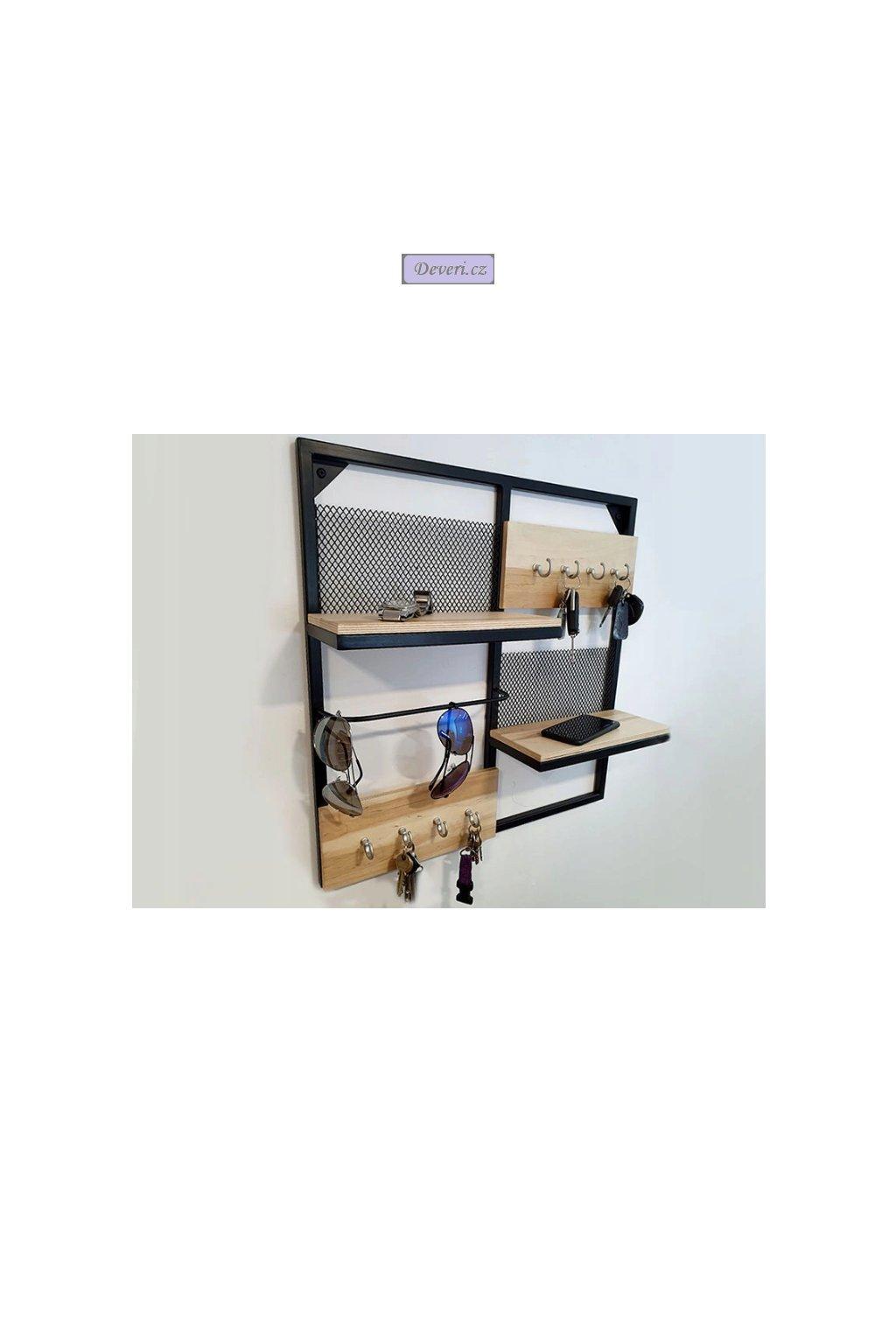 Dřevěná nástěnná polička organizér 13.5x55.5x55.5cm stříbrné háčky (1)