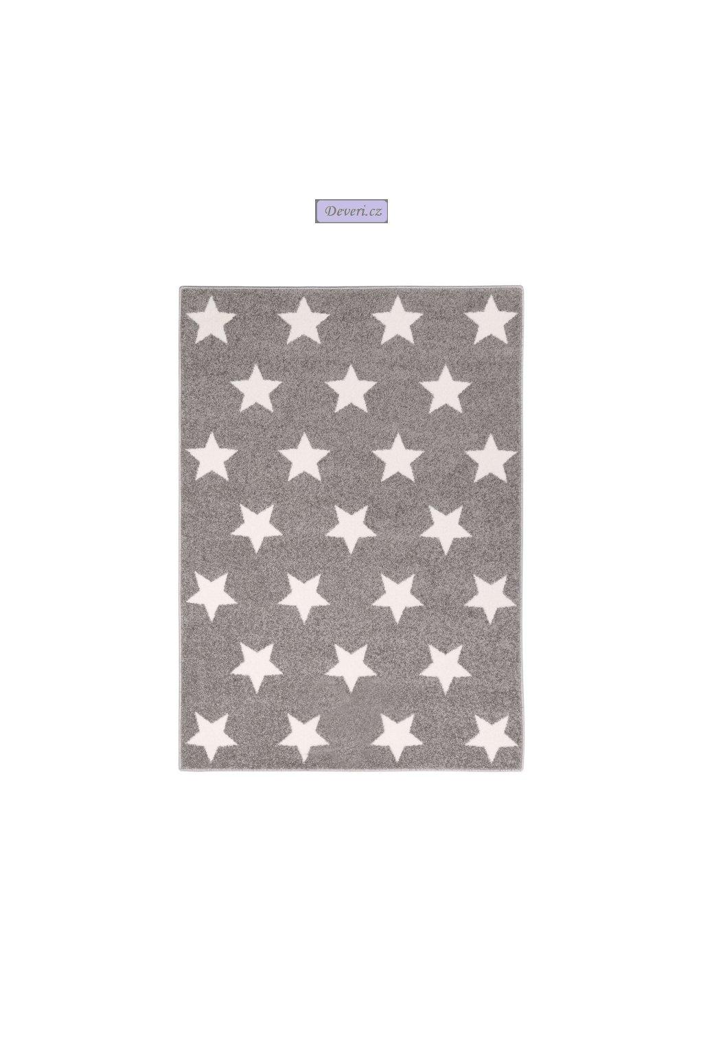 Dywan dla dziecka 140x200 szary w Gwiazdy Gwiazdki