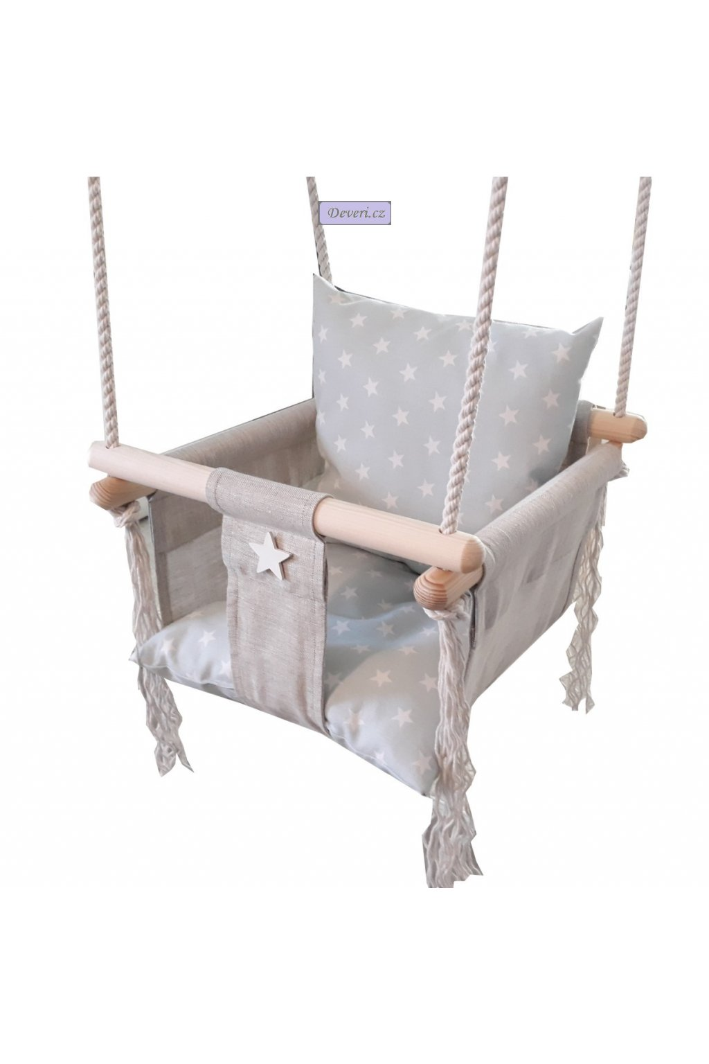 Barevná dřevěná houpačka Rita pro děti do bytu i na zahradu do 18kg šedá hvězdičky v mátové