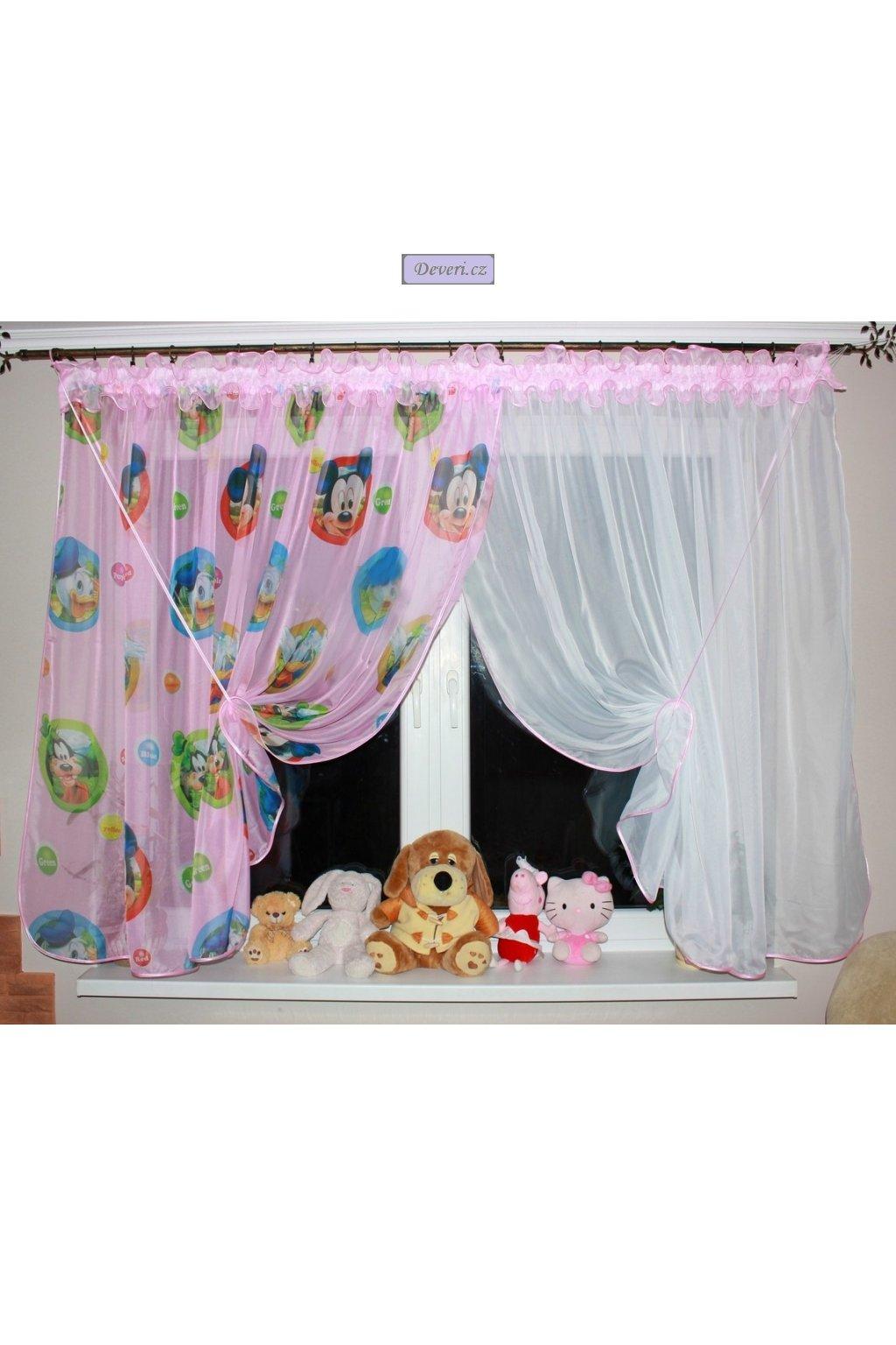Voálová dětská záclona Mickey Mouse 400x140cm světle růžová