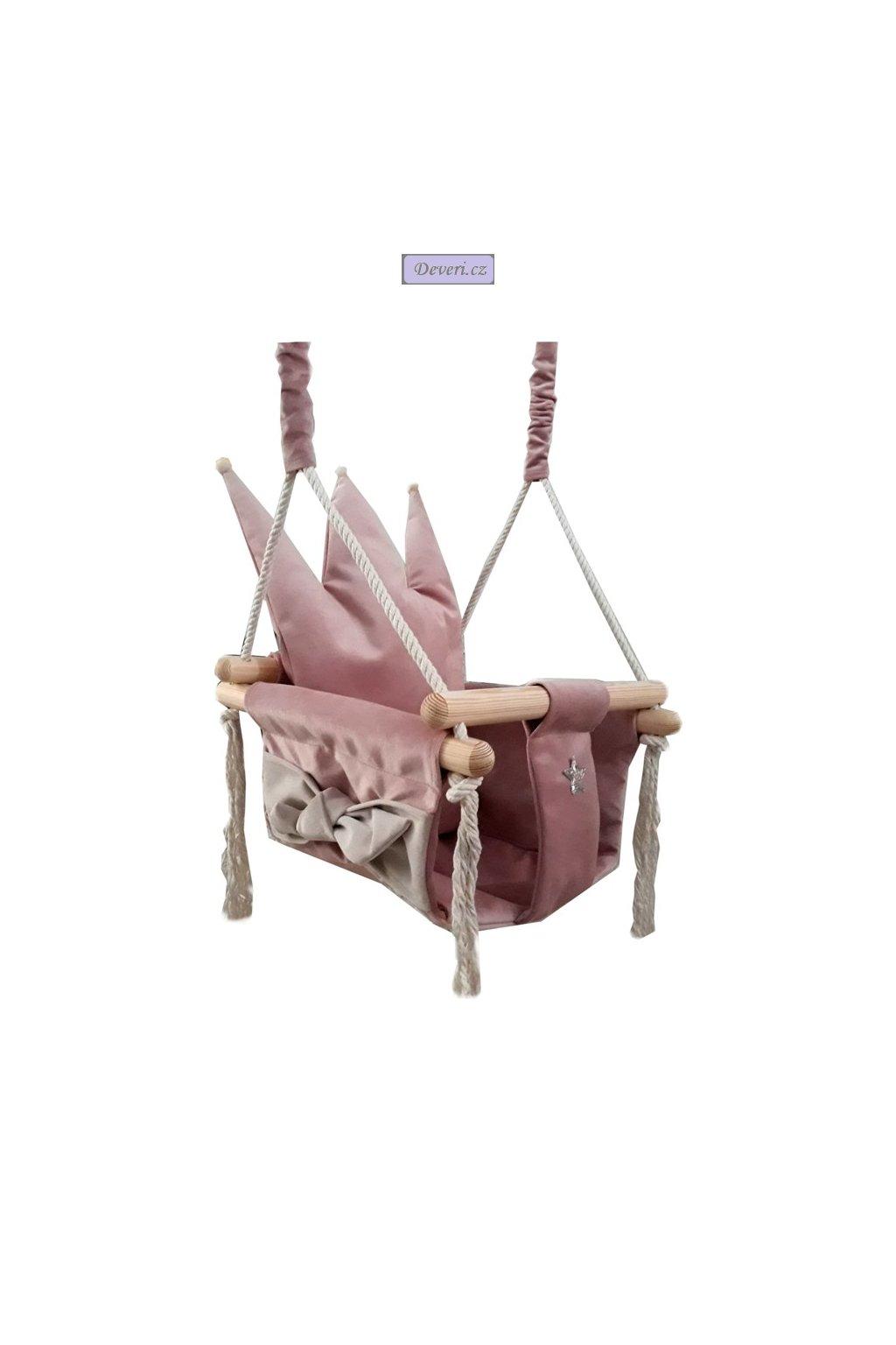 Luxusní růžová plyšová houpačka Queen pro děti do 25kg 36x36x23cm