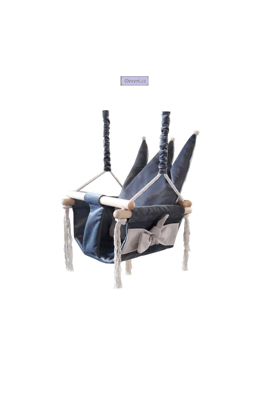 Luxusní tmavě šedá plyšová houpačka Queen pro děti do 25kg 36x36x23cm