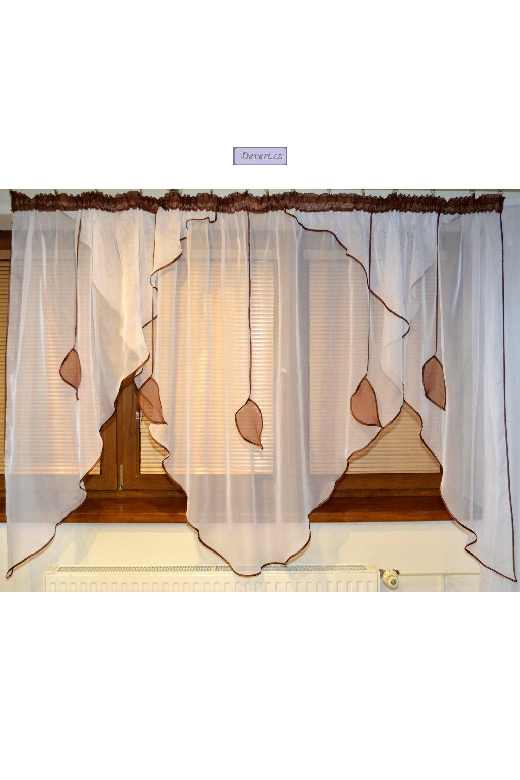 Voálová Záclona Ema hnědá 400x155cm
