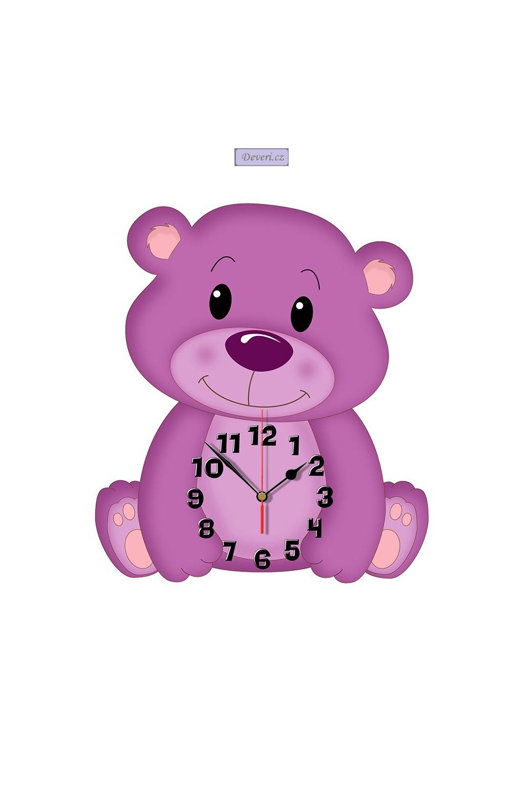 MIŚ drewniany zegar ścienny 33cm CICHY MECHANIZM
