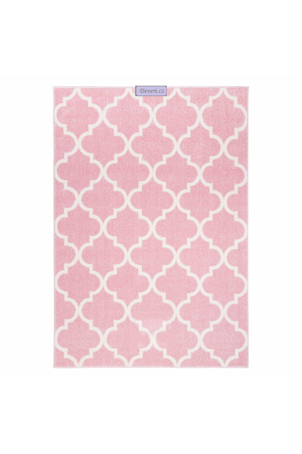 Koberec kusový marocký jetel pastelově růžový různé rozměry