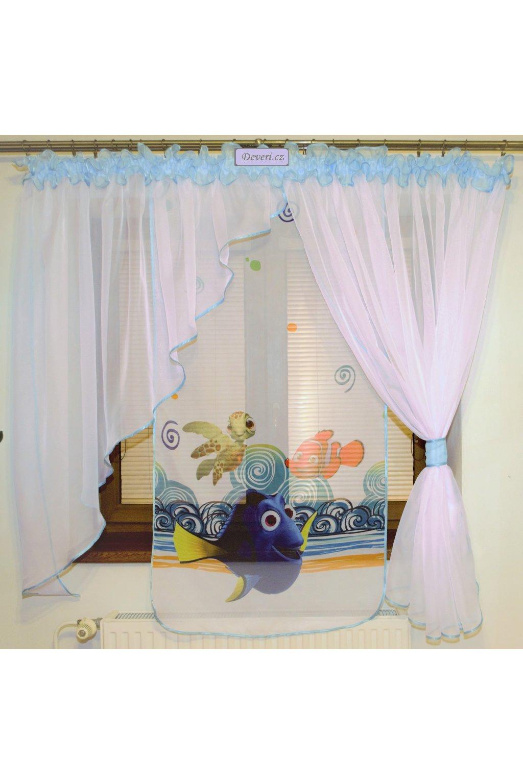 Voálová Záclona Klaudie Nemo nebesky modrá 400x145cm