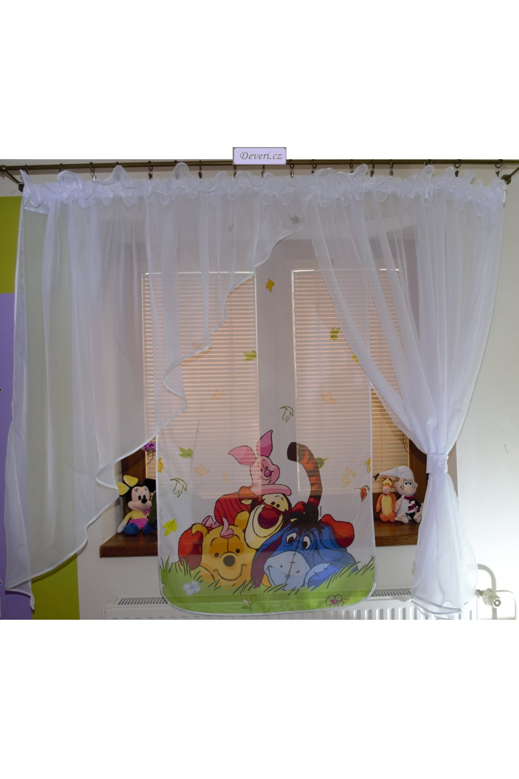 Voálová Záclona Tamara Medvídek Pú bílá 400x145cm