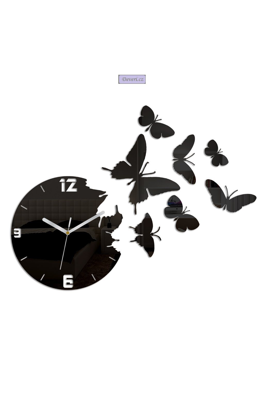 Nástěnné tiché akrylové hodiny motýli 45x60cm různé barvy