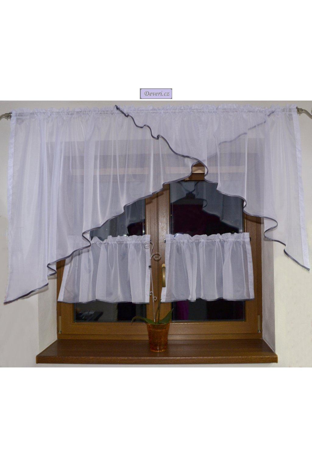 Voálová Záclona Rozálie bílá s šedým lemováním a záclonkami 300x150cm