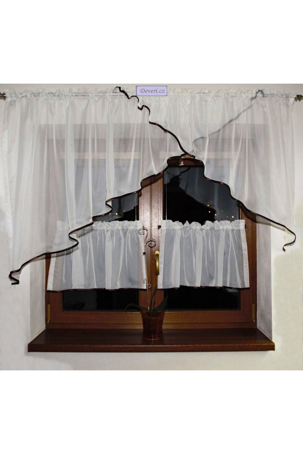 Voálová Záclona Rozálie ecru s hnědým lemováním a záclonkami 300x150cm