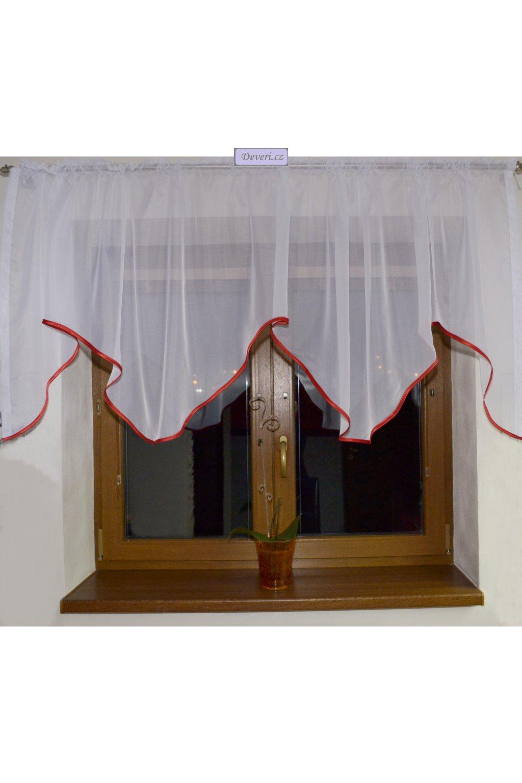 Voálová Záclona Zita bílá s červeným lemováním 300x90cm