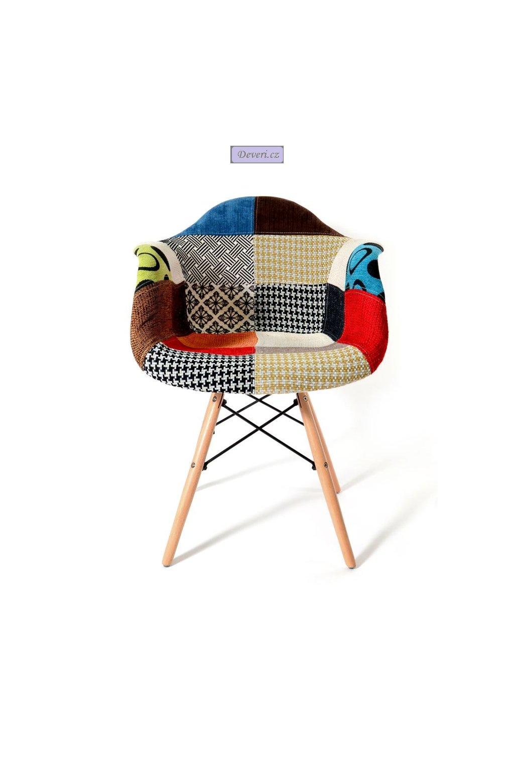 Křeslo / židle patchwork Klement 84x45cm multikolor
