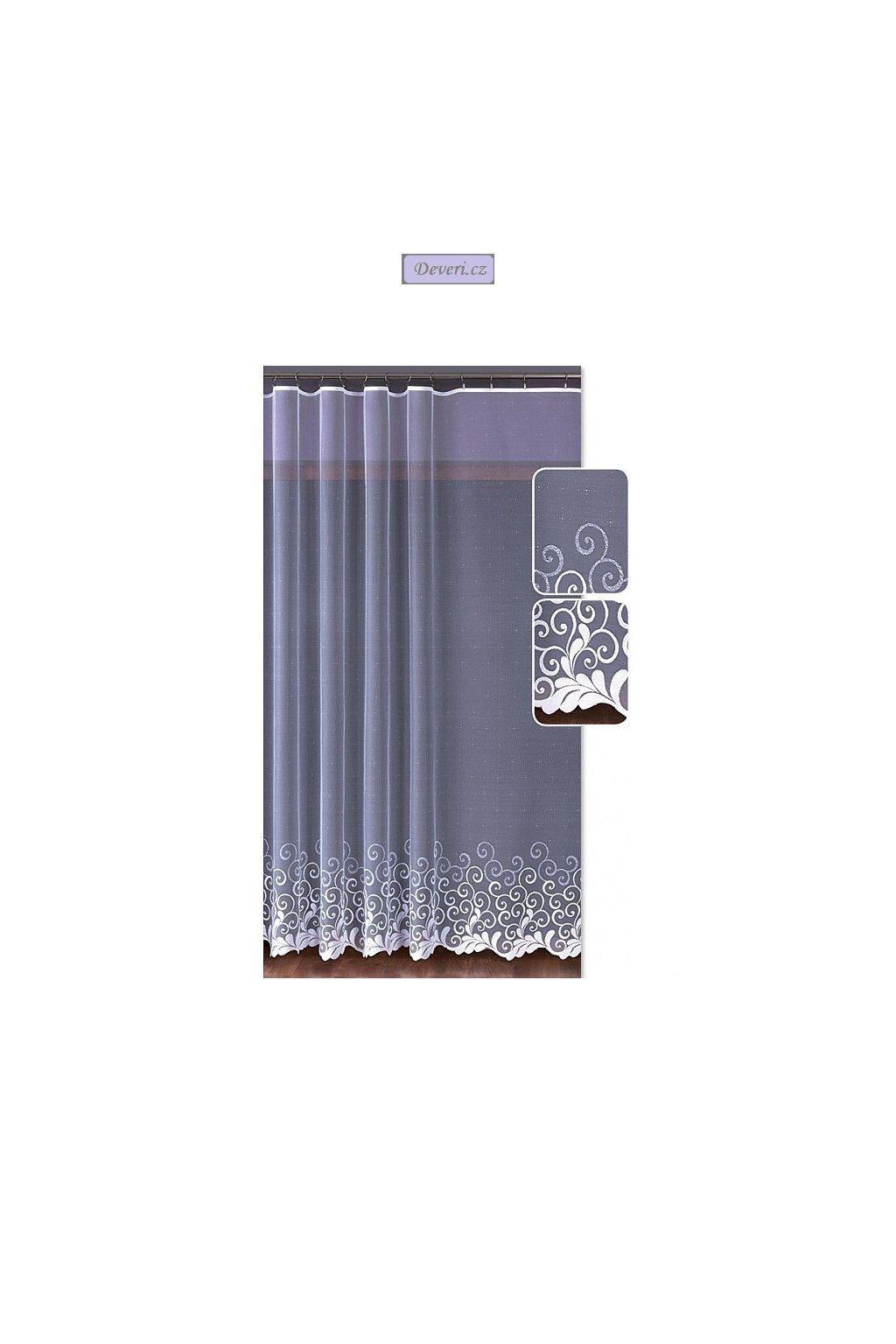 Malá liána žakárová záclona bílá, metráž 3 rozměry