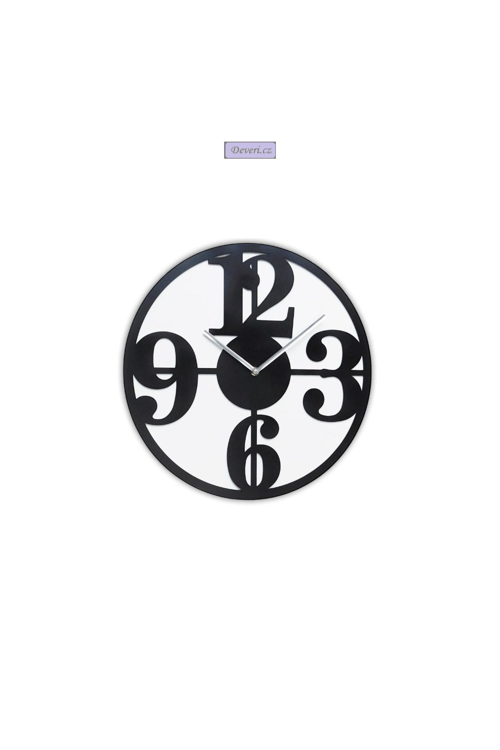 Nástěnné kovové hodiny cifry tiché 30cm černé