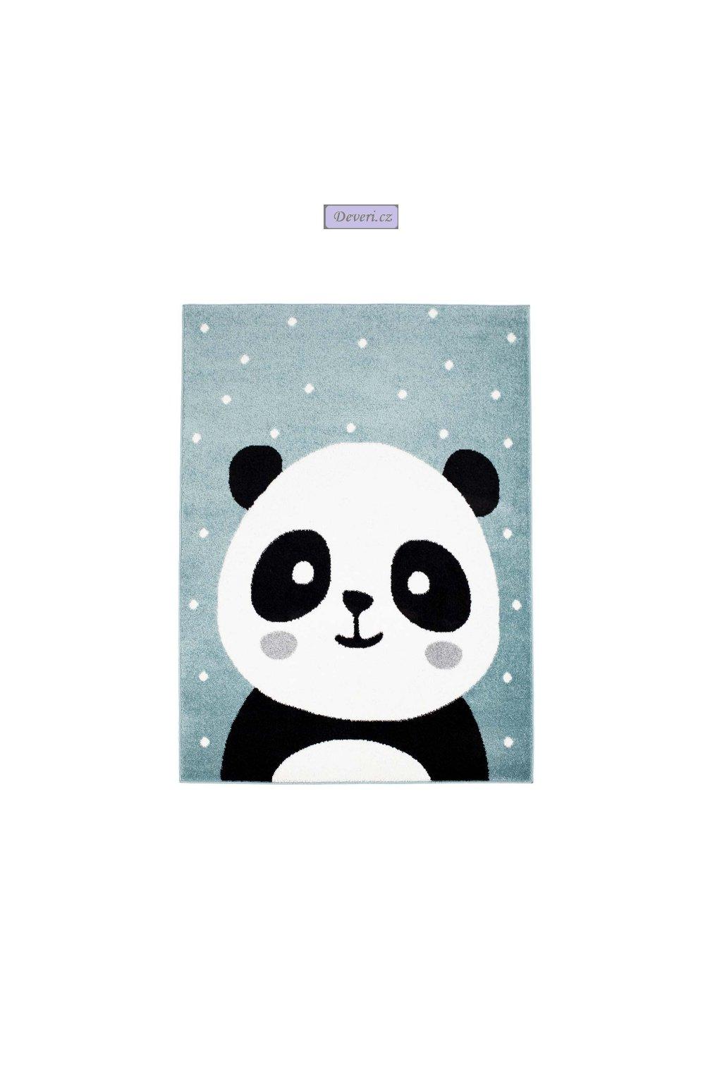 Dětský kusový koberec panda malá modrý různé velikosti
