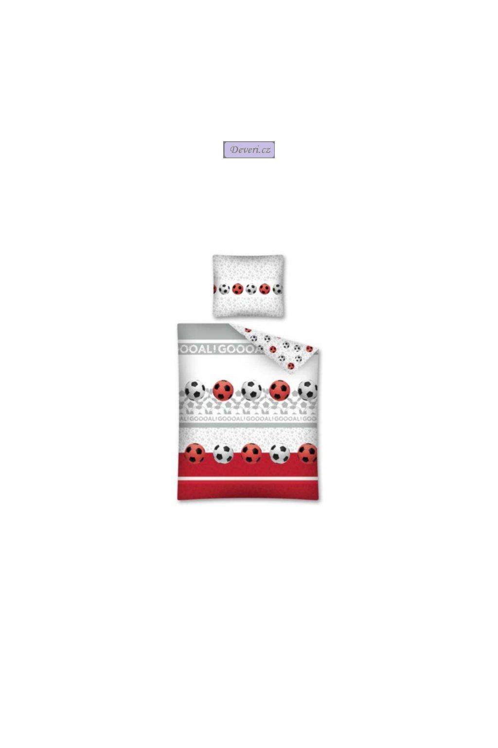 Bavlněné povlečení fotbalové míče fotbal 140x200cm/70x80cm bílé
