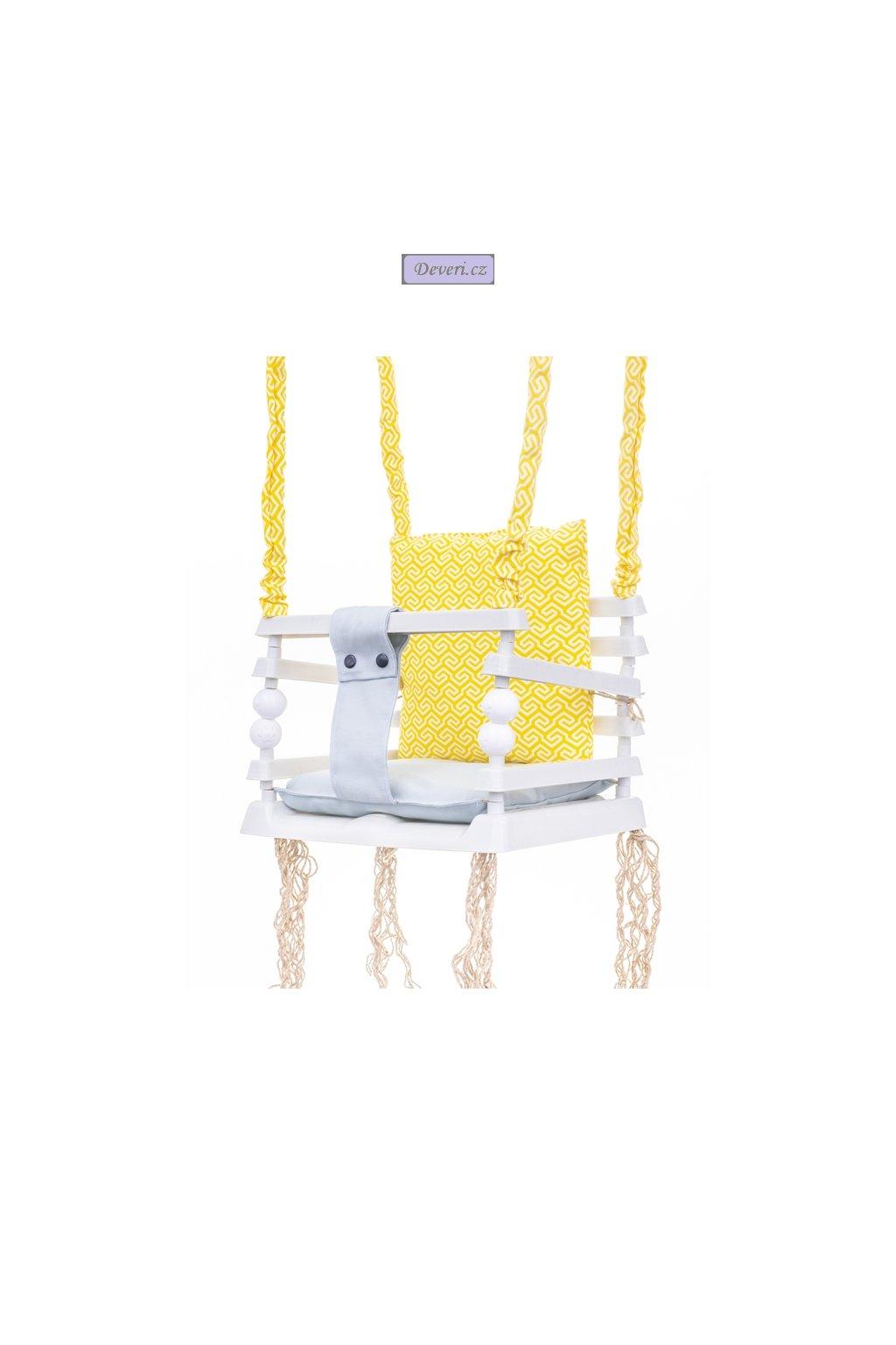 Dětská zahradní plastová houpačka žlutá 3v1 do 20kg 36x34x31cm