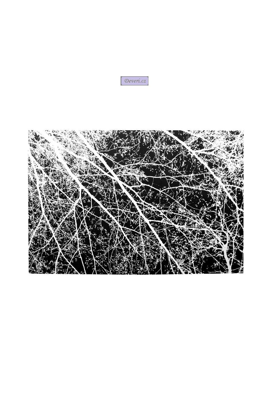 koberec 4D white black trees