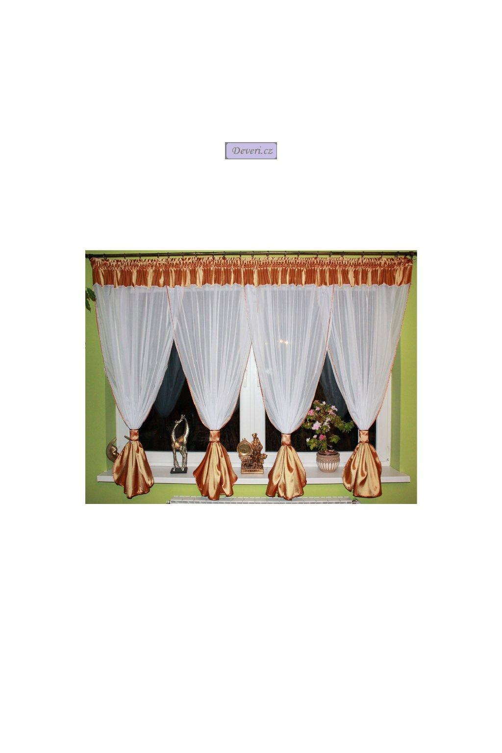 Hotová voálová záclona Gita 500x155cm zlatá