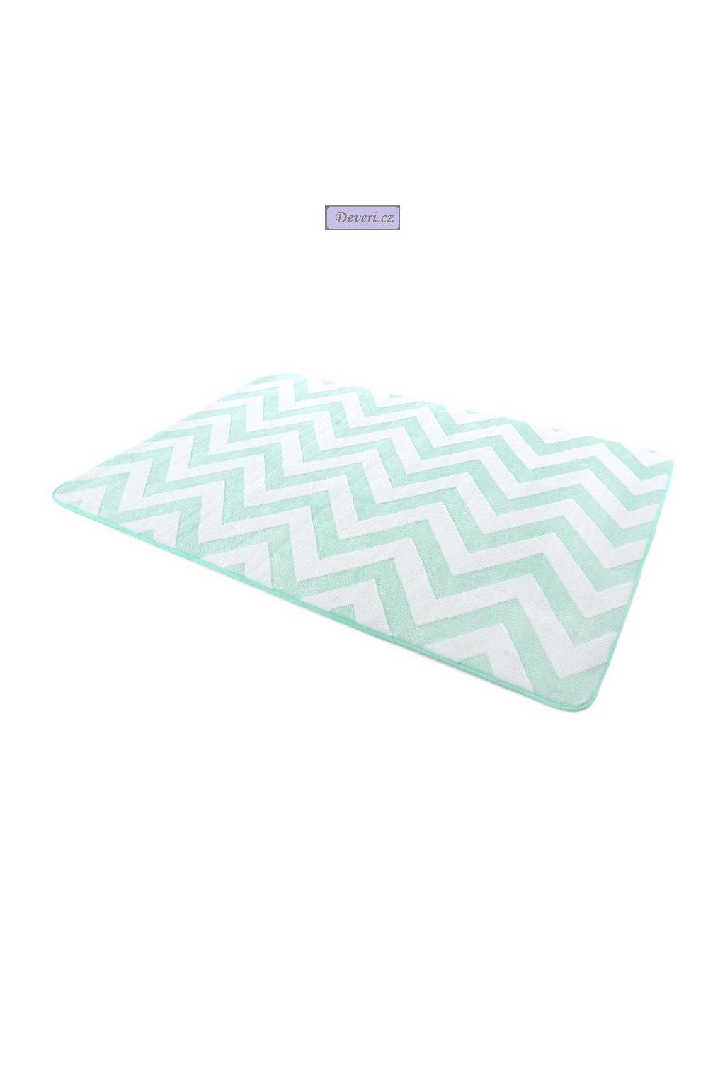 Plyšový kusový koberec 3D zig zag mátovo bílý