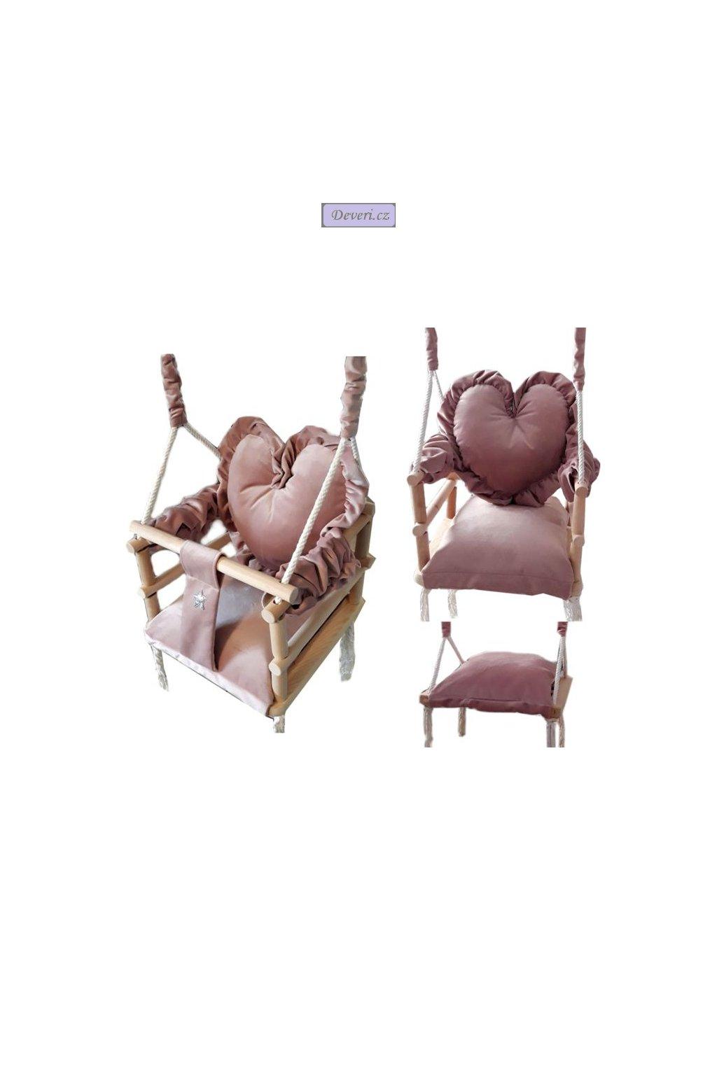 Plyšová houpačka 3v1 srdce růžová 34x34x34cm od 9 měsíců do 30kg