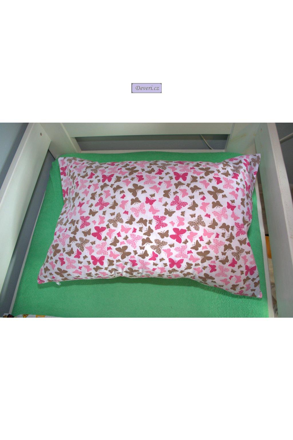 Bavlněný povlak na polštář motýli hnědí a růžoví 60x40cm bílý