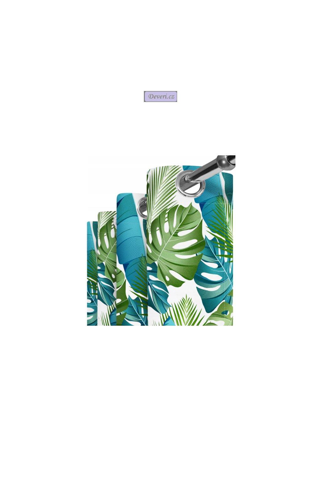 bílý s modro zelenými listy kroužky