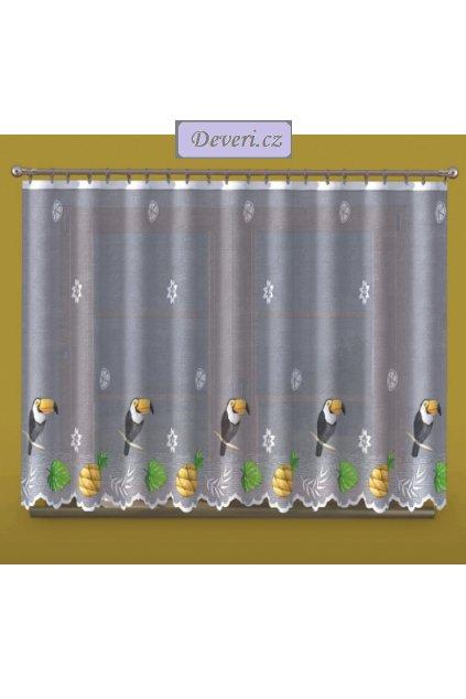 Tukani žakárová záclona bílá 150cm, metráž
