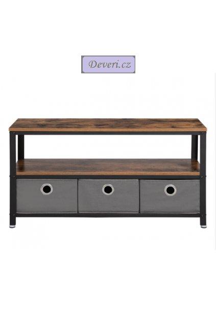 Televizní stolek s textilními zásuvkami 100x40x51.5 cm rustikálně hnědá
