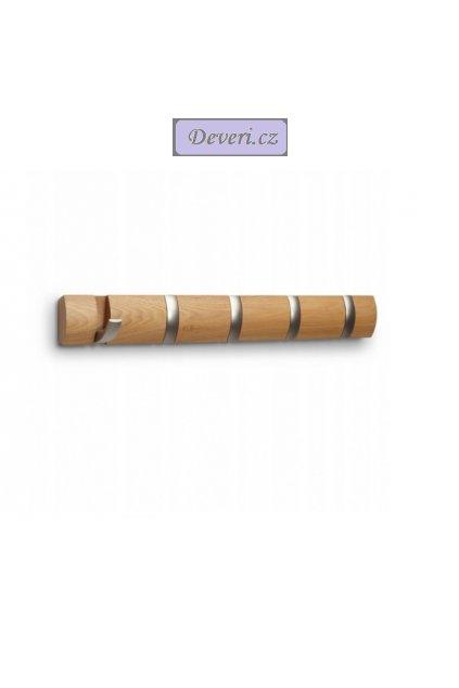 Dřevěný nástěnný věšák 51x8cm světlý buk