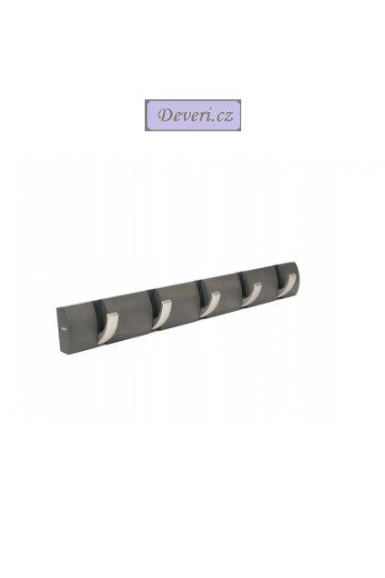 Dřevěný nástěnný věšák 51x8cm šedý