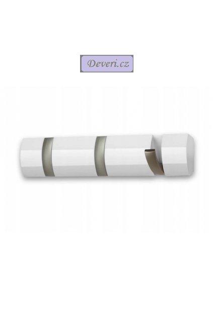 Dřevěný nástěnný věšák 33x8cm bílý