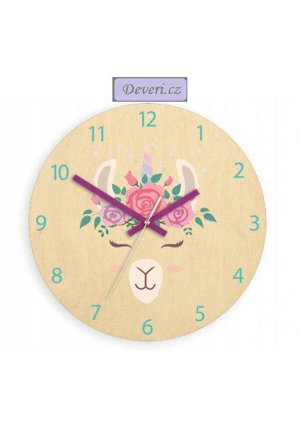 Dětské nástěnné hodiny lama 30x30cm hnědé