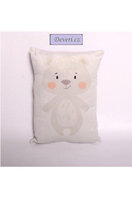 Dekorační polštářek Medvídek 31x45cm bílý