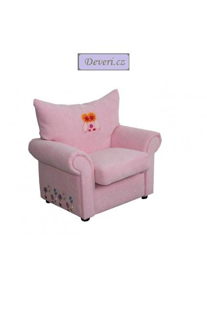 Vyšívané dětské křeslo sova růžové