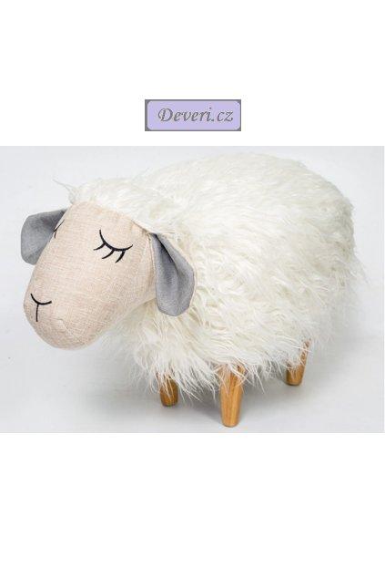 Taburet ovečka křeslo pro děti bílé