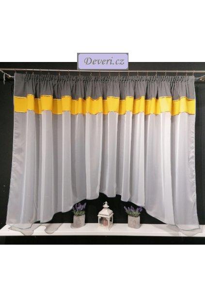 Záclona Adéla 300x150 cm šedo žlutá