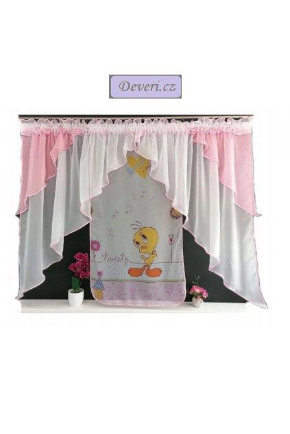 Dětská záclona Tweety 400x150cm růžovo bílá