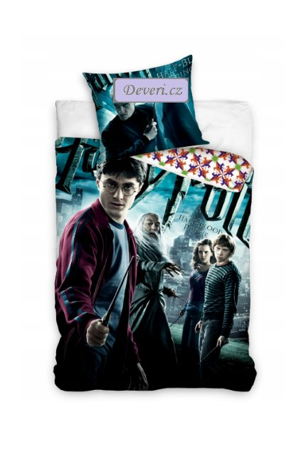 Dětské bavlněné licenční povlečení Harry Potter 140x200cm modré