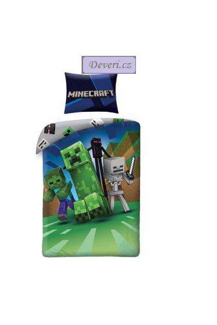 Dětské bavlněné licenční povlečení Minecraft 140x200cm zelené (2)