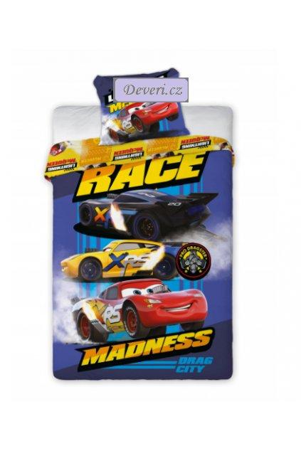 Dětské bavlněné licenční povlečení Race 140x200cm modré