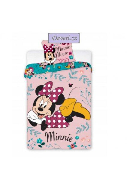 Dětské bavlněné licenční povlečení Minnie 140x200cm růžové
