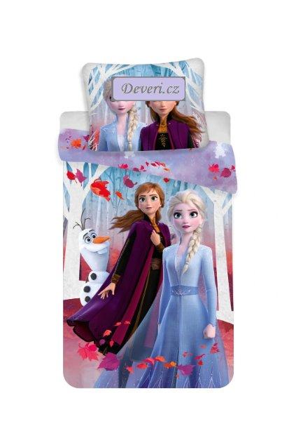 Dětské bavlněné licenční povlečení Anna a Elza Frozen 140x200cm modré