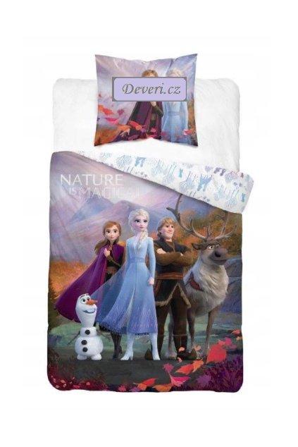 Dětské bavlněné licenční povlečení Frozen 140x200cm fialové